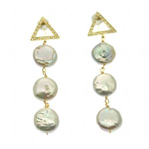 Coin Pearl Drop & Dangle Stud Earrings with Gold CZ Triangles
